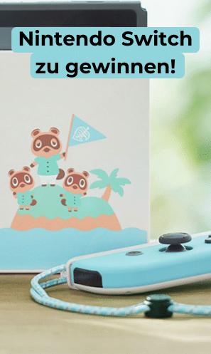 Win4Win Gewinne 1 von 3 Nintendo Switch Konsolen im Animal Crossing Design
